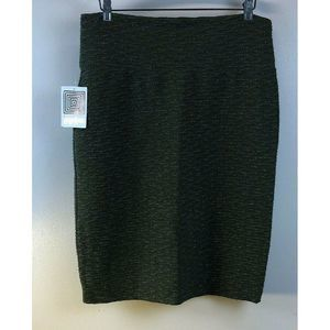Cassie Pencil Skirt Olive Green Silver Crinkle